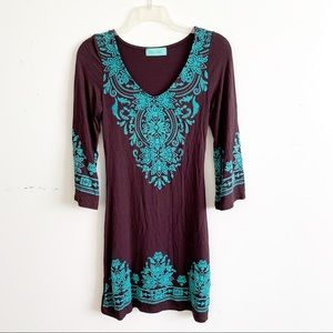 Filly Flair Long Sleeve V-Neck Embroidered Dress